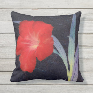 Rustic Red Flower Profile Outdoor Cushion
