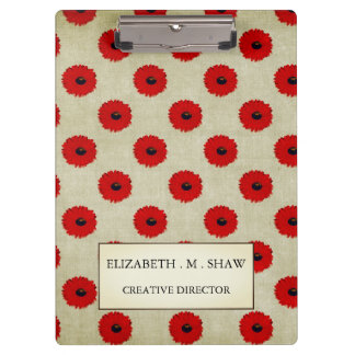 Rustic Red  Flowers Pattern Clipboard