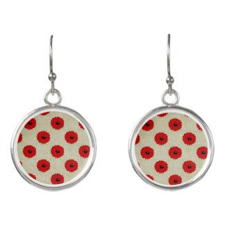 Rustic Red  Flowers Pattern Earrings