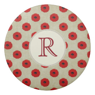 Rustic Red  Flowers Pattern Eraser