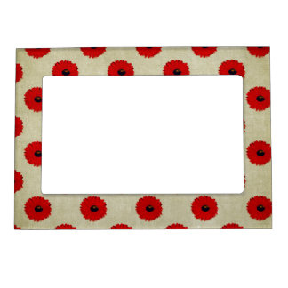 Rustic Red  Flowers Pattern Magnetic Frame