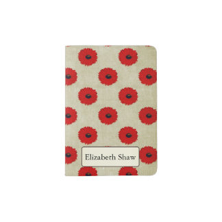 Rustic Red  Flowers Pattern Passport Holder