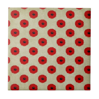 Rustic Red  Flowers Pattern Small Square Tile