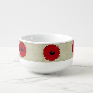 Rustic Red  Flowers Pattern Soup Bowl With Handle
