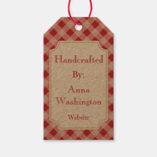 Rustic Red Gingham Handcrafted Tag