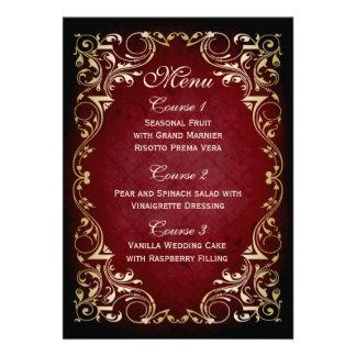 rustic red gold regal wedding menu card
