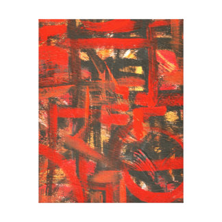 Rustic Red-Hand Painted Abstract Art Canvas Print