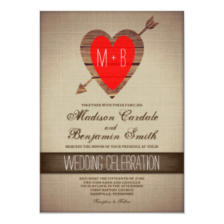Rustic Red Heart Arrow Country Wedding Invites