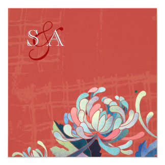 "Rustic Red Monogrammed Floral Wedding Invites 5.25"" Square Invitation Card"