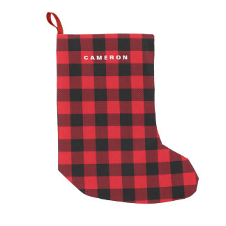 Rustic Red Plaid Pattern Holiday Personalized Small Christmas Stocking