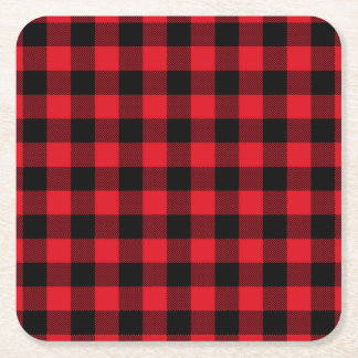 Rustic Red Plaid Pattern Holiday Square Paper Coaster