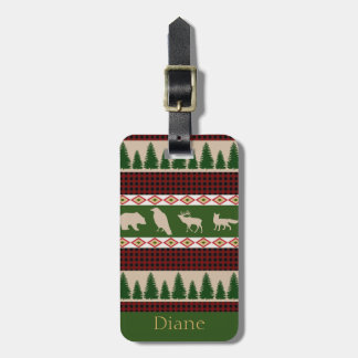 Rustic Red Plaid & Woodland Animals Personalized Luggage Tag