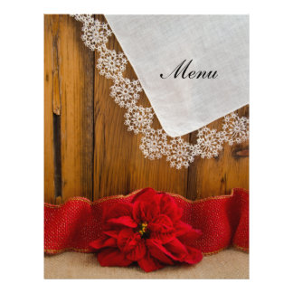 Rustic Red Poinsettia Country Winter Wedding Menu 21.5 Cm X 28 Cm Flyer