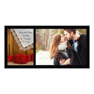 Rustic Red Poinsettia Winter Wedding Save the Date Photo Card