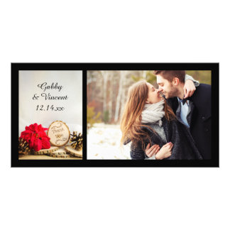 Rustic Red Poinsettia Winter Wedding Thank You Picture Card