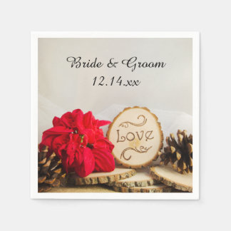 Rustic Red Poinsettia Woodland Winter Wedding Disposable Serviette