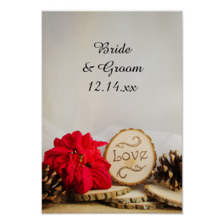 Rustic Red Poinsettia Woodland Winter Wedding Poster