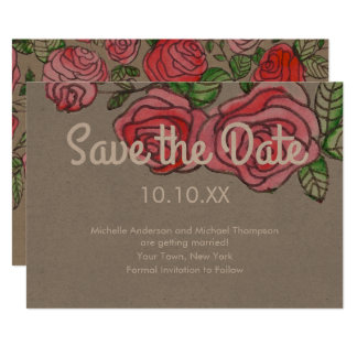 Rustic Red Rose Save the Date Card
