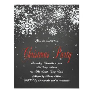 Rustic Red Snowflake Chalkboard Christmas Party 11 Cm X 14 Cm Invitation Card