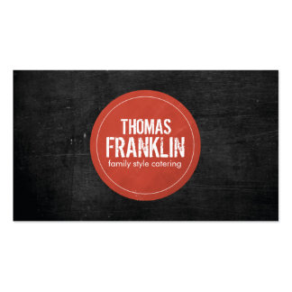 Rustic Red Stamped Logo II on Black Woodgrain Business Card Templates