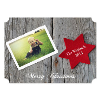 Rustic Red Star Holiday Photo Greeting 13 Cm X 18 Cm Invitation Card