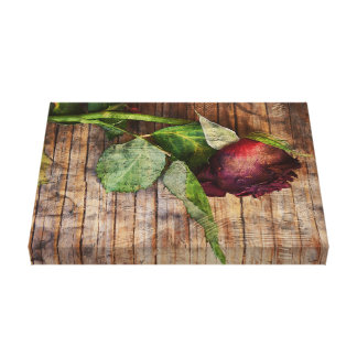 Rustic Red Textured Grunge Rose On Wood Canvas Print