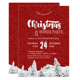 Rustic red white falling snow Christmas party Card