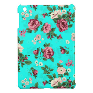 Rustic Red & White Roses Blue-Green Background iPad Mini Cases