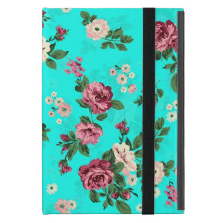 Rustic Red & White Roses Blue-Green Background iPad Mini Covers