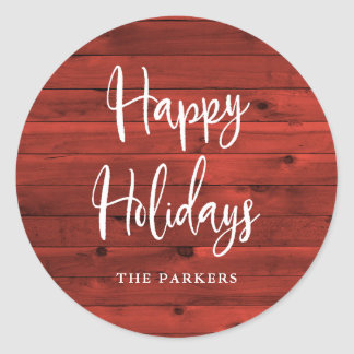 Rustic Red Wood | Happy Holidays Classic Round Sticker