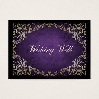 Rustic Regal Ornamental Purple And Gold Wedding Business Card