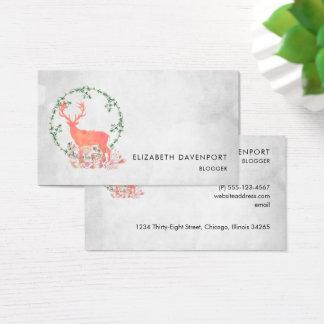 Rustic Reindeer Boho Watercolor Business Card