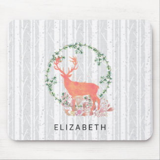 Rustic Reindeer Boho Watercolor Custom Mouse Pad