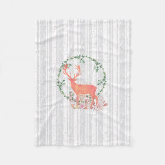 Rustic Reindeer Boho Watercolor Fleece Blanket