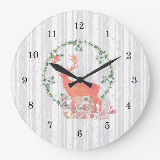 Rustic Reindeer Boho Watercolor Large Clock