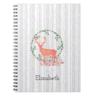 Rustic Reindeer Boho Watercolor Personalized Notebook