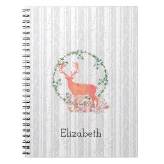 Rustic Reindeer Boho Watercolor Personalized Notebooks