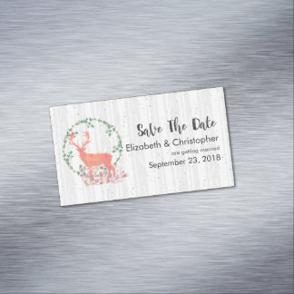 Rustic Reindeer Boho Watercolor Save The Date Magnetic Business Cards