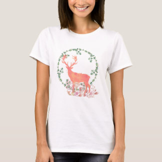 Rustic Reindeer Boho Watercolor T-Shirt