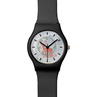 Rustic Reindeer Boho Watercolor Watch