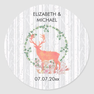 Rustic Reindeer Boho Watercolor Wedding Classic Round Sticker