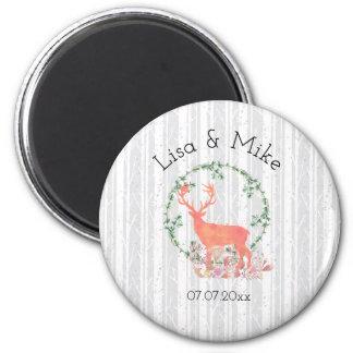 Rustic Reindeer Boho Watercolor Wedding Magnet