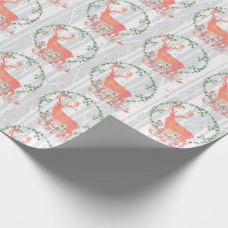 Rustic Reindeer Boho Watercolor Wrapping Paper