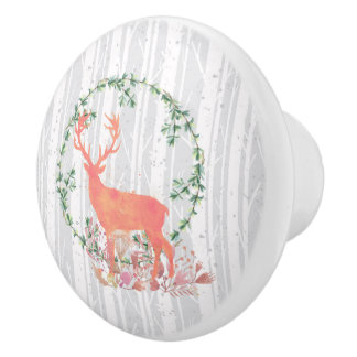 Rustic Reindeer Boho Wreath Watercolor Ceramic Knob