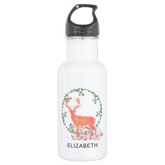 Rustic Reindeer Boho Wreath Watercolor Custom 532 Ml Water Bottle