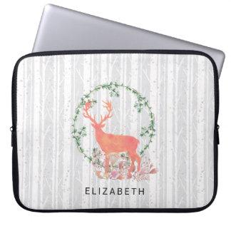 Rustic Reindeer Boho Wreath Watercolor Custom Laptop Sleeve