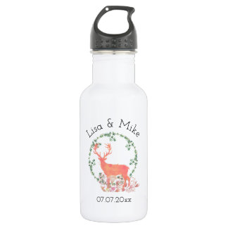 Rustic Reindeer Boho Wreath Watercolor Wedding 532 Ml Water Bottle