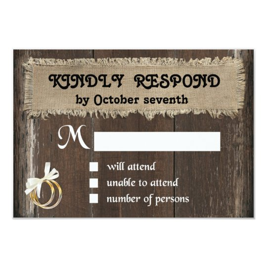 Rustic Response Card on Wood Background - RSVP