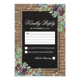 Rustic Response | Christmas Winter Wedding RSVP Card