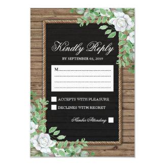 Rustic Response | Organic Greenery Wedding RSVP Card